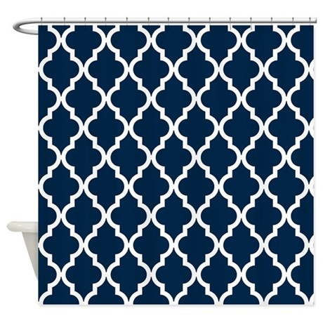 blue navy quatrefoil moroccan pat shower curtain by