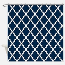 Blue, Navy: Quatrefoil Moroccan Pat Shower Curtain