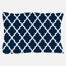 Blue, Navy: Quatrefoil Moroccan Patter Pillow Case