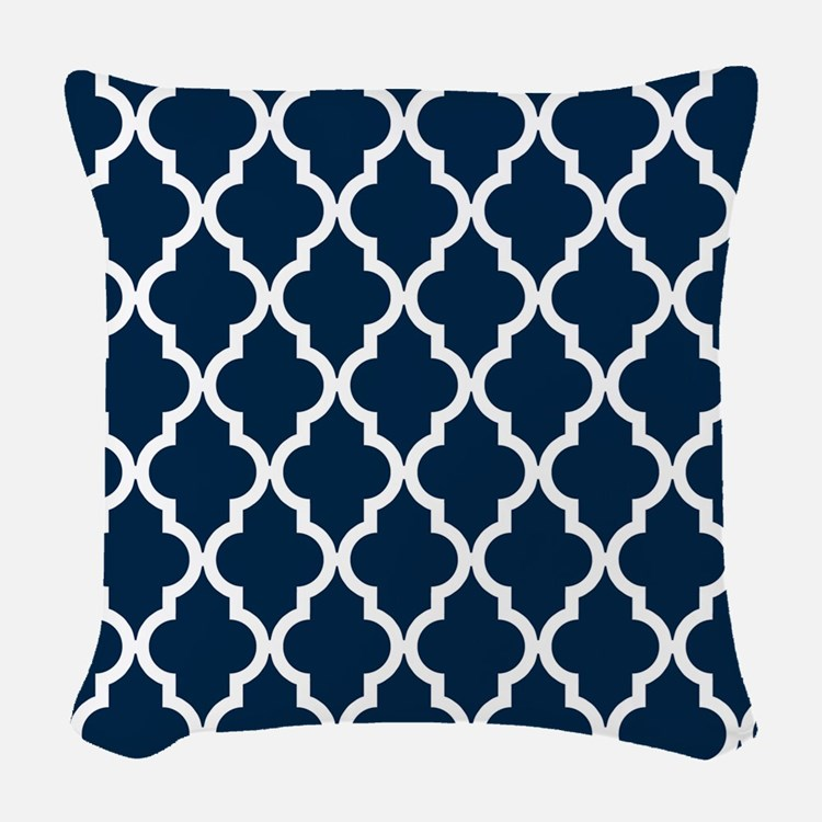 Blue, Navy: Quatrefoil Morocca Woven Throw Pillow