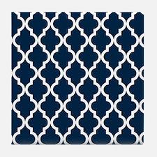 Blue, Navy: Quatrefoil Moroccan Patte Tile Coaster