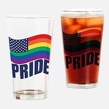 Rainbow U.S. Flag Drinking Glass