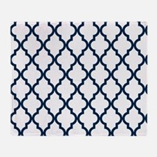 Blue, Navy: Quatrefoil Moroccan Patt Throw Blanket