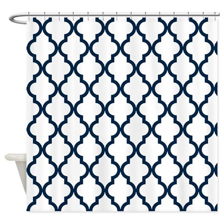 Navy Blue Moroccan Pattern Inverte Shower Curtain By