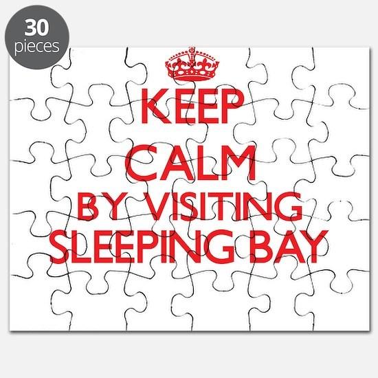 Keep calm by visiting Sleeping Bay Michigan Puzzle