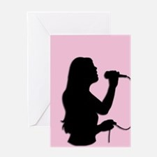 Female Singer Pink Greeting Cards