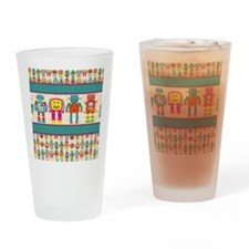 Lots of Happy Robots Drinking Glass
