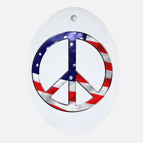 murica peace sign Ornament (Oval)
