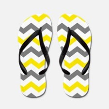 Yellow and Gray Chevron Pattern Flip Flops