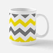 Yellow and Gray Chevron Pattern Mugs