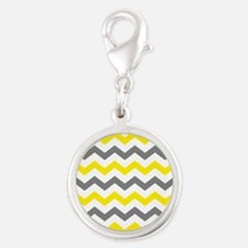 Yellow and Gray Chevron Pattern Charms