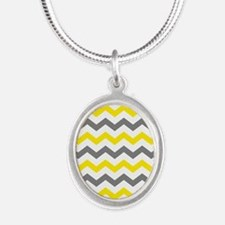 Yellow and Gray Chevron Pattern Necklaces