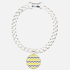 Yellow and Gray Chevron Pattern Bracelet