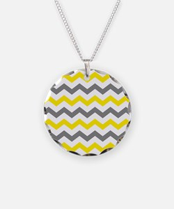 Yellow and Gray Chevron Pattern Necklace