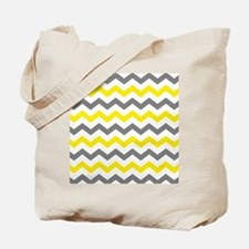 Yellow and Gray Chevron Pattern Tote Bag