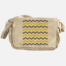 Yellow and Gray Chevron Pattern Messenger Bag