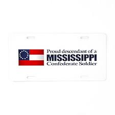 Mississippi Proud Descendant Aluminum License Plat