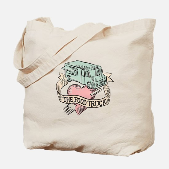 Food Truck Heart Fork Etching Tote Bag