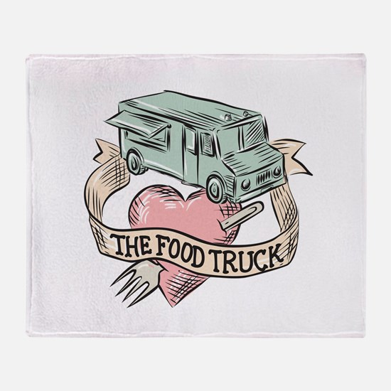 Food Truck Heart Fork Etching Throw Blanket
