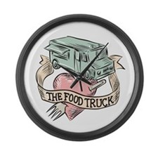 Food Truck Heart Fork Etching Large Wall Clock