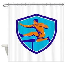 Track And Field Athlete Jumping Hurdle Shower Curt