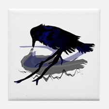 Raven drinking water with his shadow Tile Coaster
