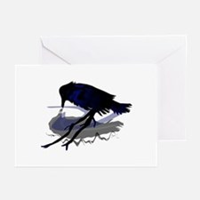 Raven drinking water with his shadow Greeting Card