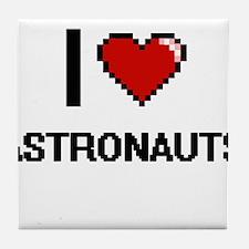 I Love Astronauts Digitial Design Tile Coaster