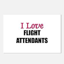 I Love FLIGHT ATTENDANTS Postcards (Package of 8)