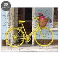 retro style Yellow Bicycle and flowers in a Puzzle