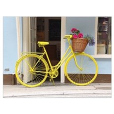 retro style Yellow Bicycle and flowers in a basket Framed Print