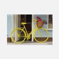 retro style Yellow Bicycle and fl Rectangle Magnet