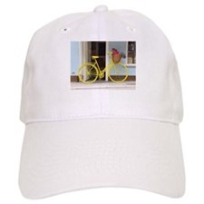 retro style Yellow Bicycle and flowers in a ba Baseball Cap