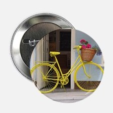 """retro style Yellow Bicycle 2.25"""" Button (100 pack)"""