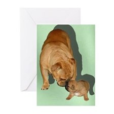 Adult and Puppy Bulldog Greeting Cards (Pack 6)