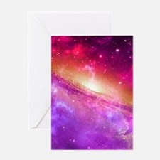 Red And Purple Nebula Greeting Cards