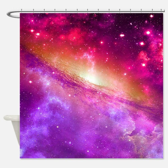 Red And Purple Nebula Shower Curtain