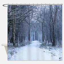 Scottish Bluebell Woods in Winter Shower Curtain