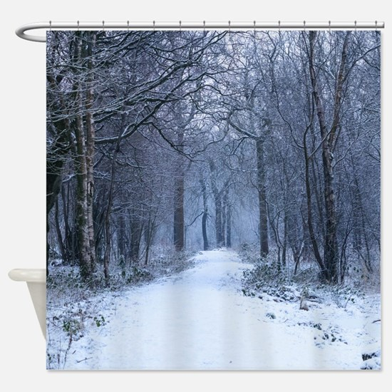 Scottish Bluebell Woods in Winter Shower Curtain