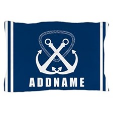 Navy Double Anchor Personalized Pillow Case