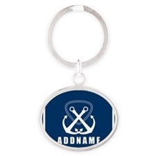 Navy Double Anchor Personalized Oval Keychain