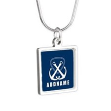 Navy Double Anchor Persona Silver Square Necklace