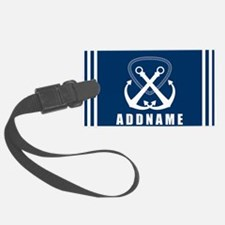 Navy Double Anchor Personalized Luggage Tag