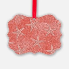 Coral Pink Starfish Pattern Ornament