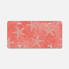 Coral Pink Starfish Pattern Aluminum License Plate