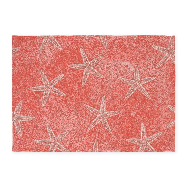 Coral Pink Starfish Pattern 5x7Area Rug by trendyteeshirts