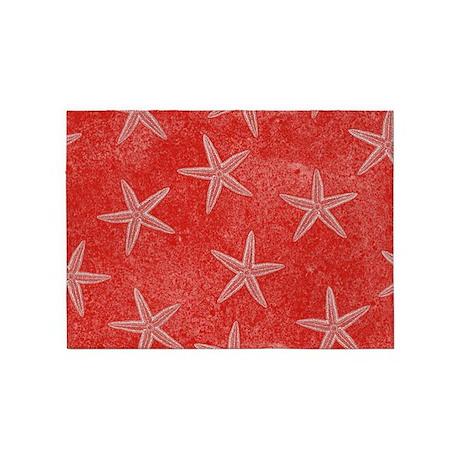 Coral Pink Starfish Pattern 5u0027x7u0027Area Rug