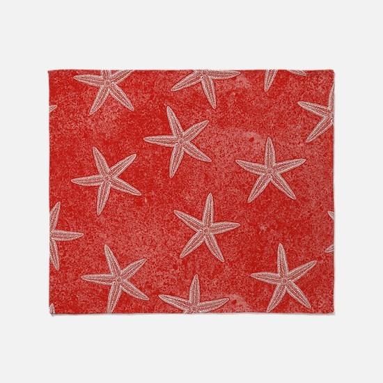 Coral Pink Starfish Pattern Throw Blanket