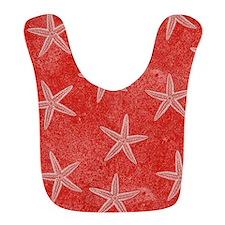 Coral Pink Starfish Pattern Bib