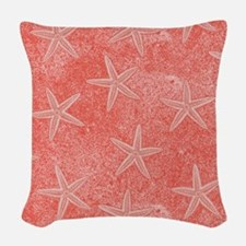 Coral Pink Starfish Pattern Woven Throw Pillow